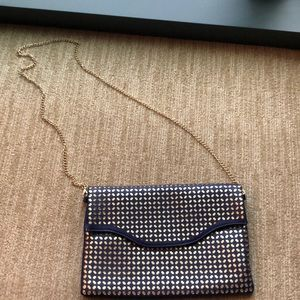 Handbags - Royal blue and gold clutch